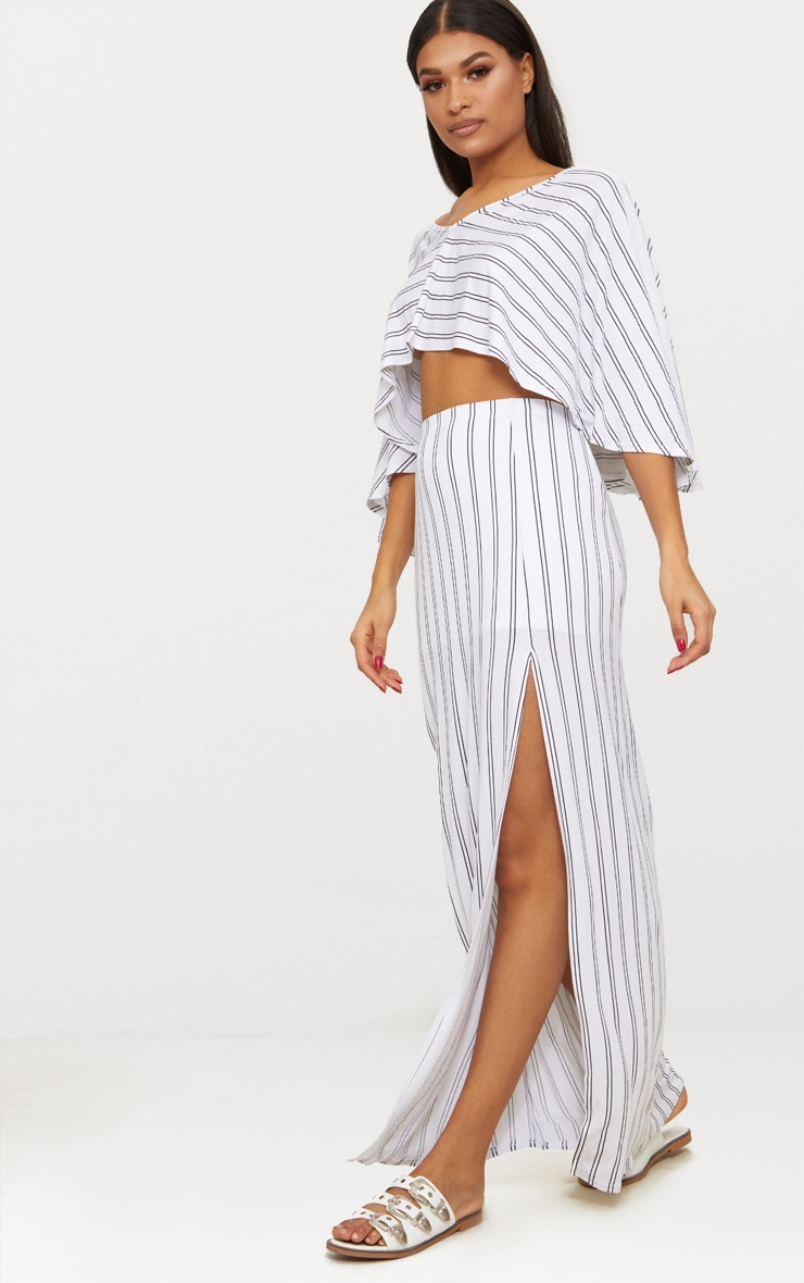 White Jersey Stripe Extreme Split Maxi Skirt  1