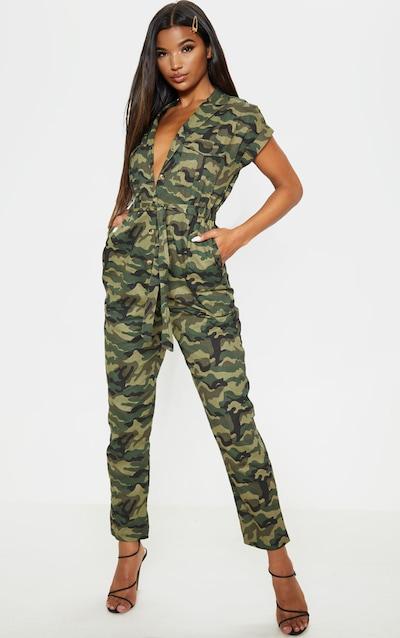 Khaki Camo Print Tie Waist Jumpsuit