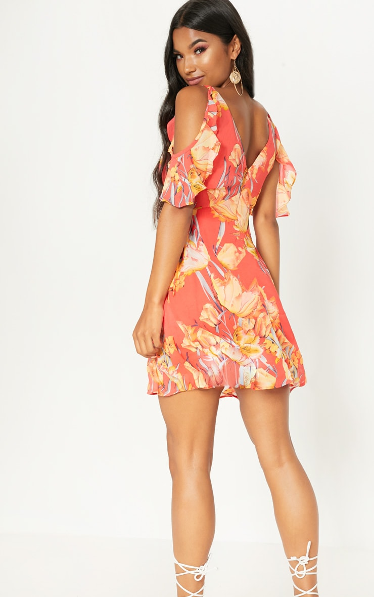 Red Floral Frill Sleeve Skater Dress 2
