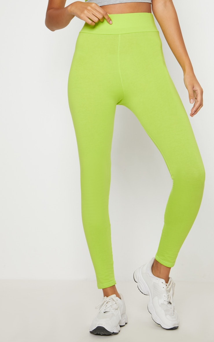 Lime Cotton High Waisted Sports Leggings 2