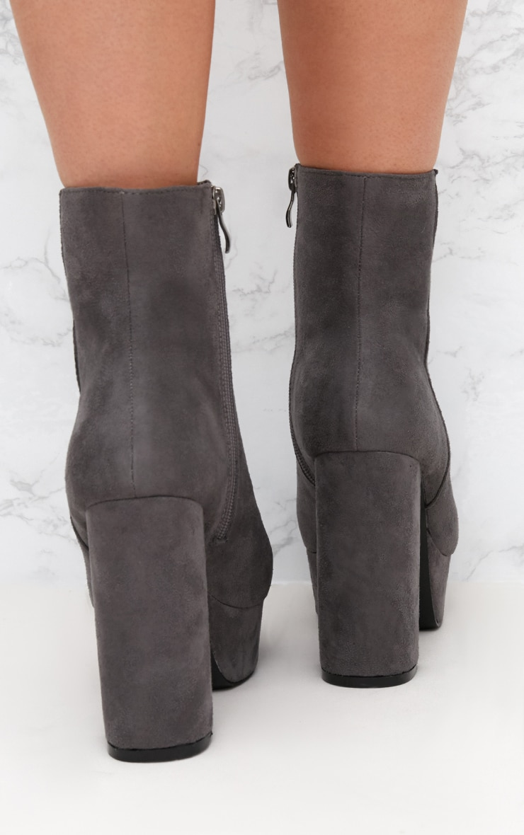 Grey Faux Suede Block Heel Ankle Boot 3