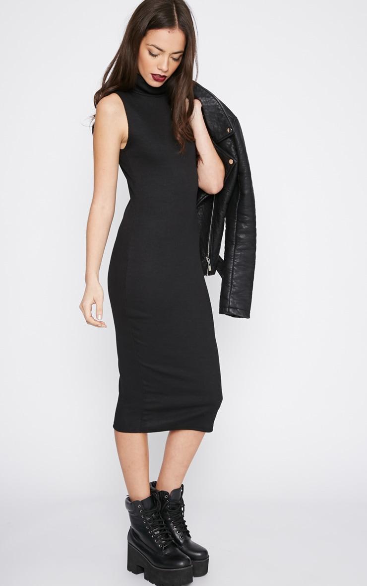 Nava Black Roll Neck Ribbed Jersey Midi Dress 4