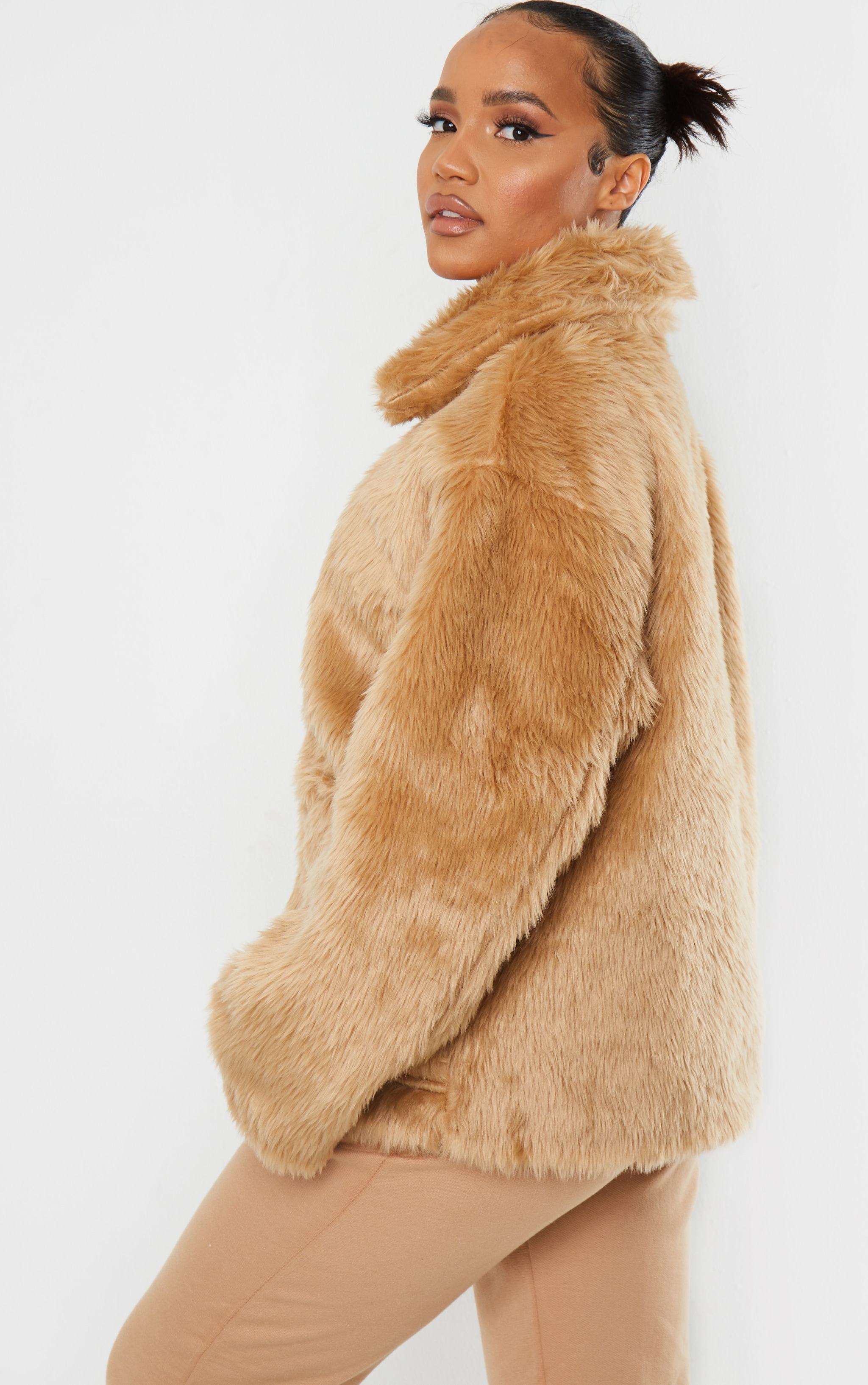 Camel Long Faux Fur Pocket Front Jacket 2
