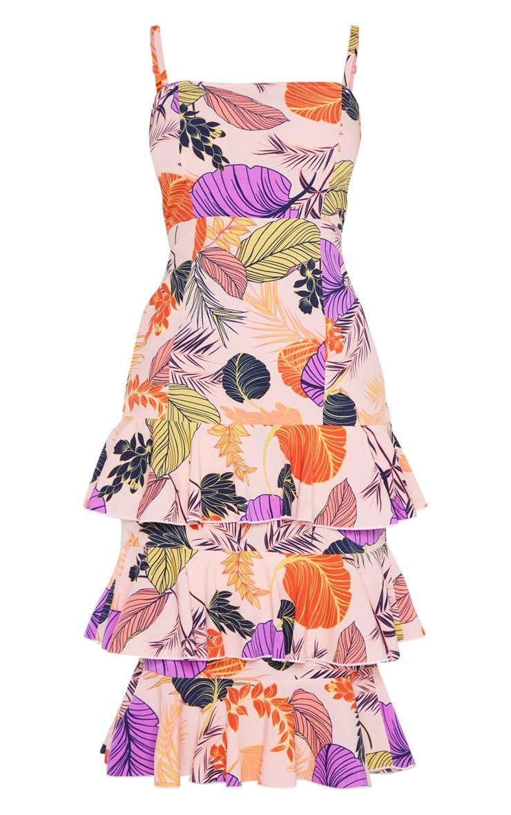 Nude Tropical Print Ruffle Tiered Midi Dress 3