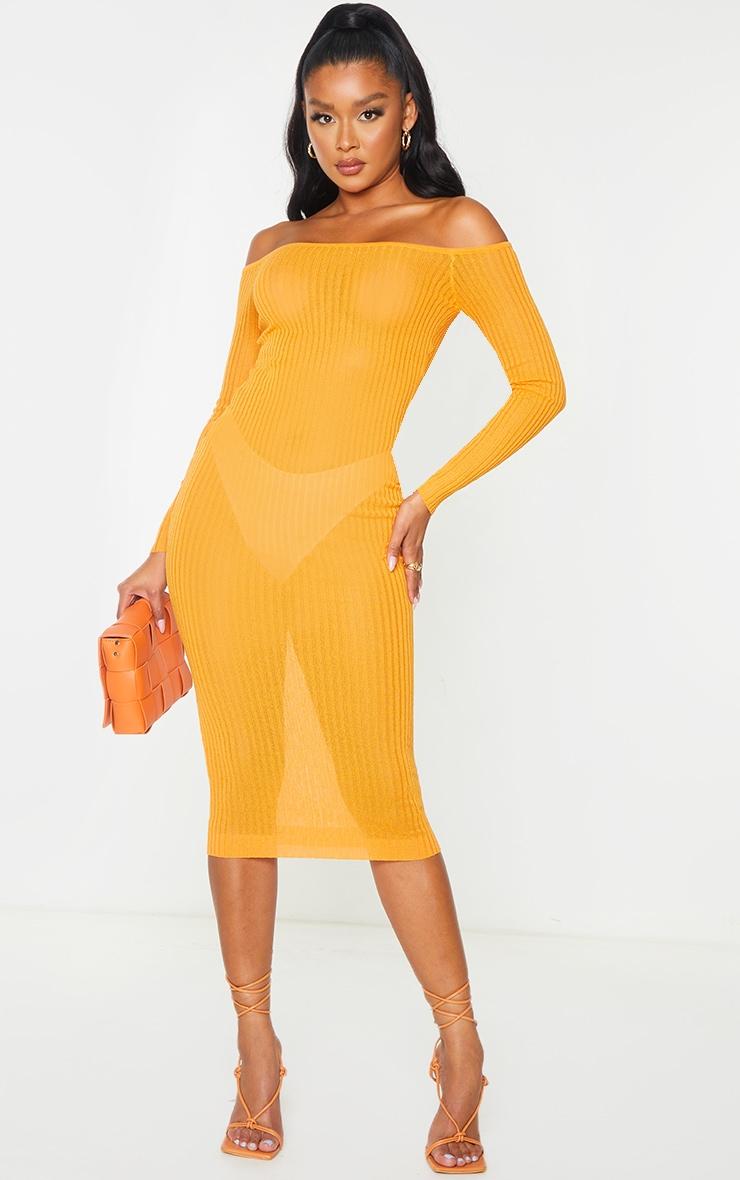 Orange Sheer Knit Bardot Midi Dress 2