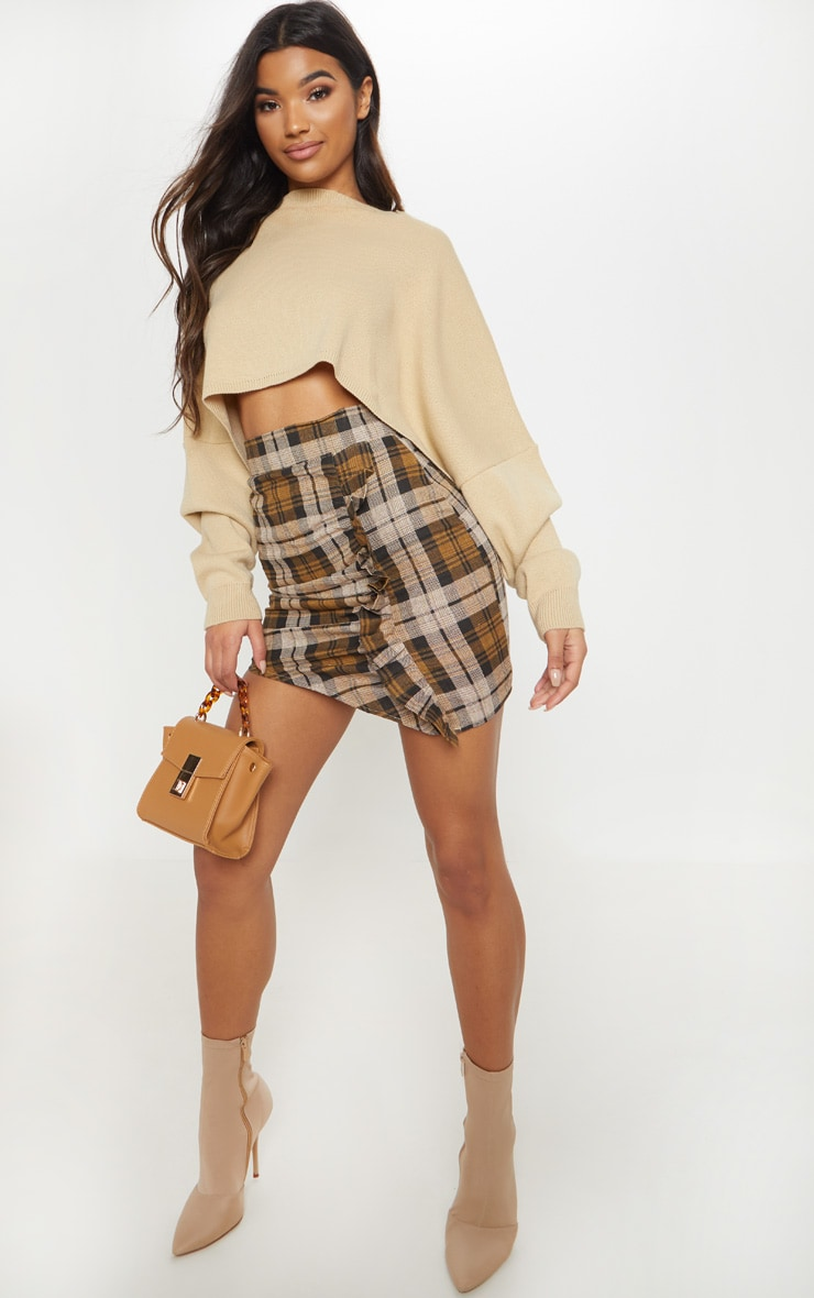 Chocolate Check Ruched Detail Mini Skirt  5