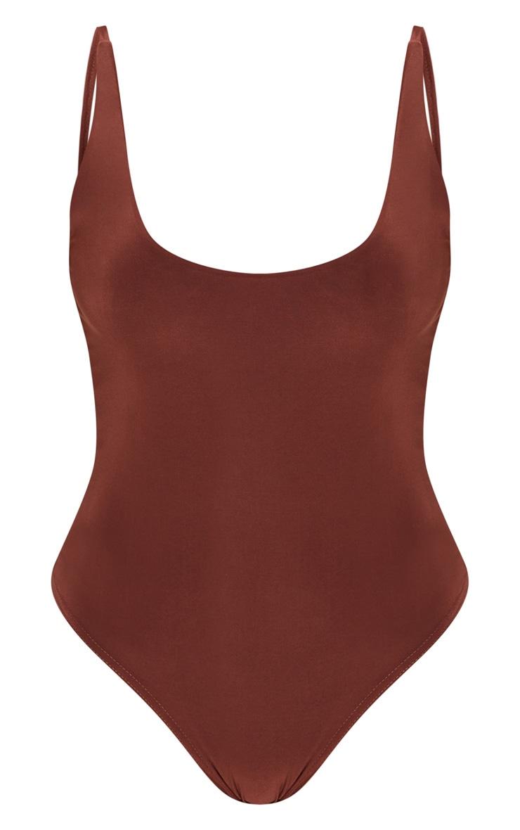 Chocolate Double Layer Slinky Scoop Back Bodysuit 3
