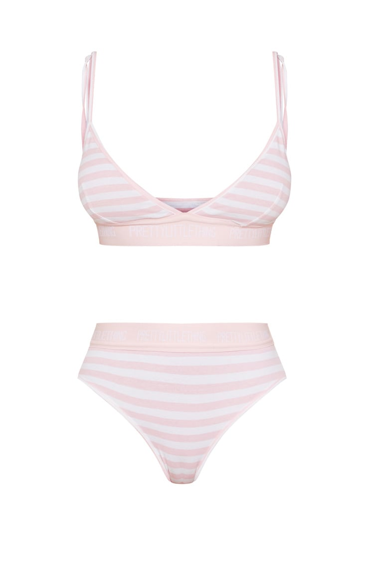Pink & White Stripe Cotton Lingerie Set 3