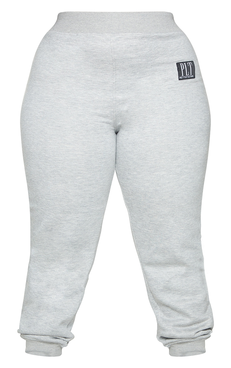 PRETTYLITTLETHING Plus Grey Badge Detail Joggers 5