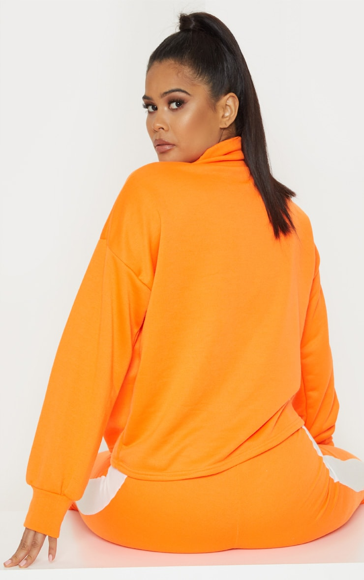 Neon Orange Roll Neck Contrast Stripe Sweat 2