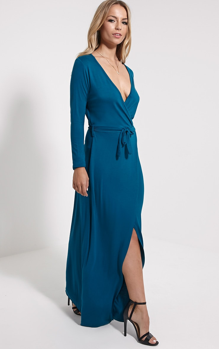 Pennie Teal Wrap Front Maxi Dress 3