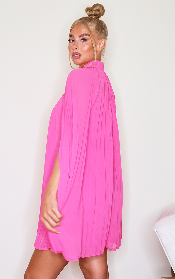 Bright Pink Pleated Cape High Neck Shift Dress 2