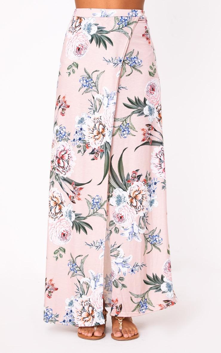 Nude Floral Wrap Maxi Skirt 2