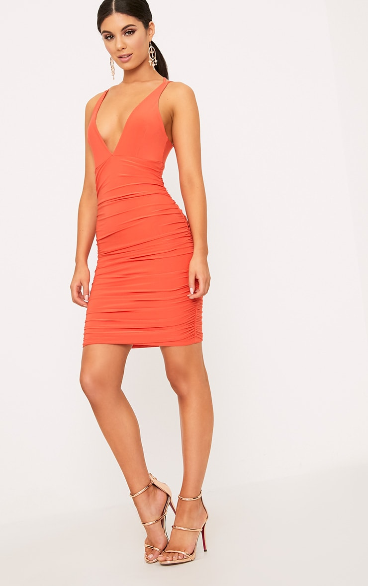 Agness Coral Cross Back Ruched Bodycon Dress 4