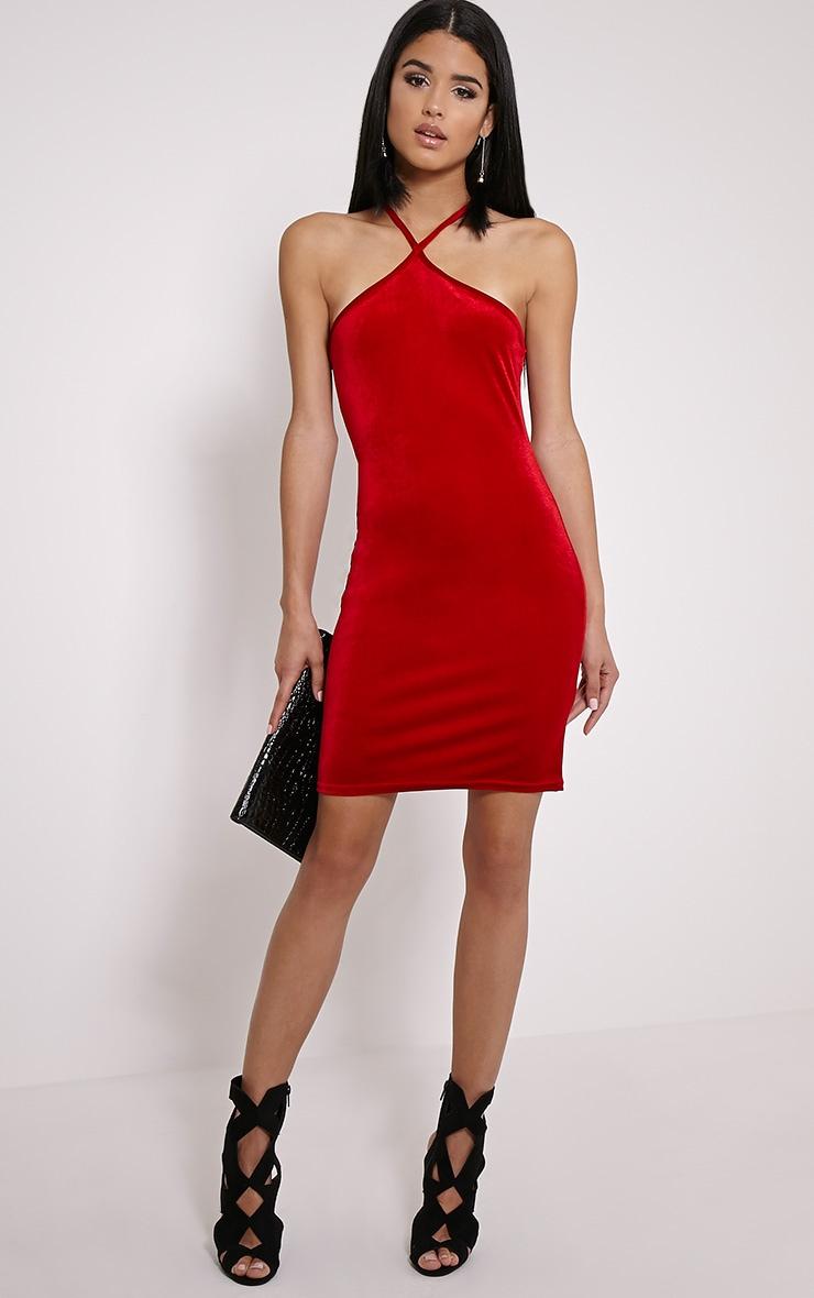 Zara Red Velvet Mini Dress | Dresses | PrettyLittleThing