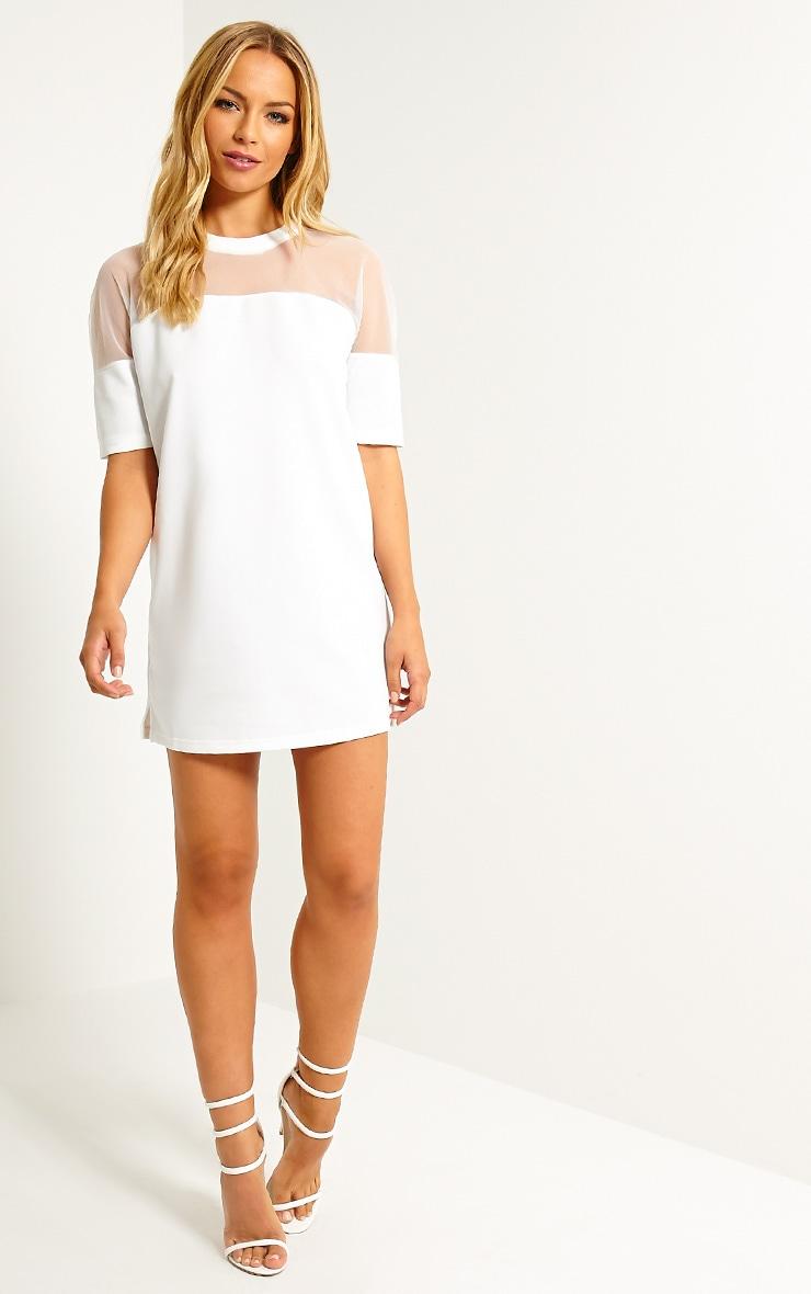Camille White Mesh Top Shift Dress 3
