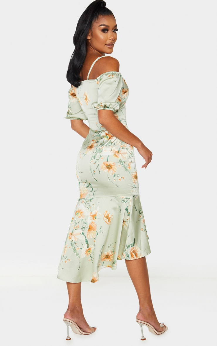 Mint Lace Trim Frill Hem Midi Dress 2