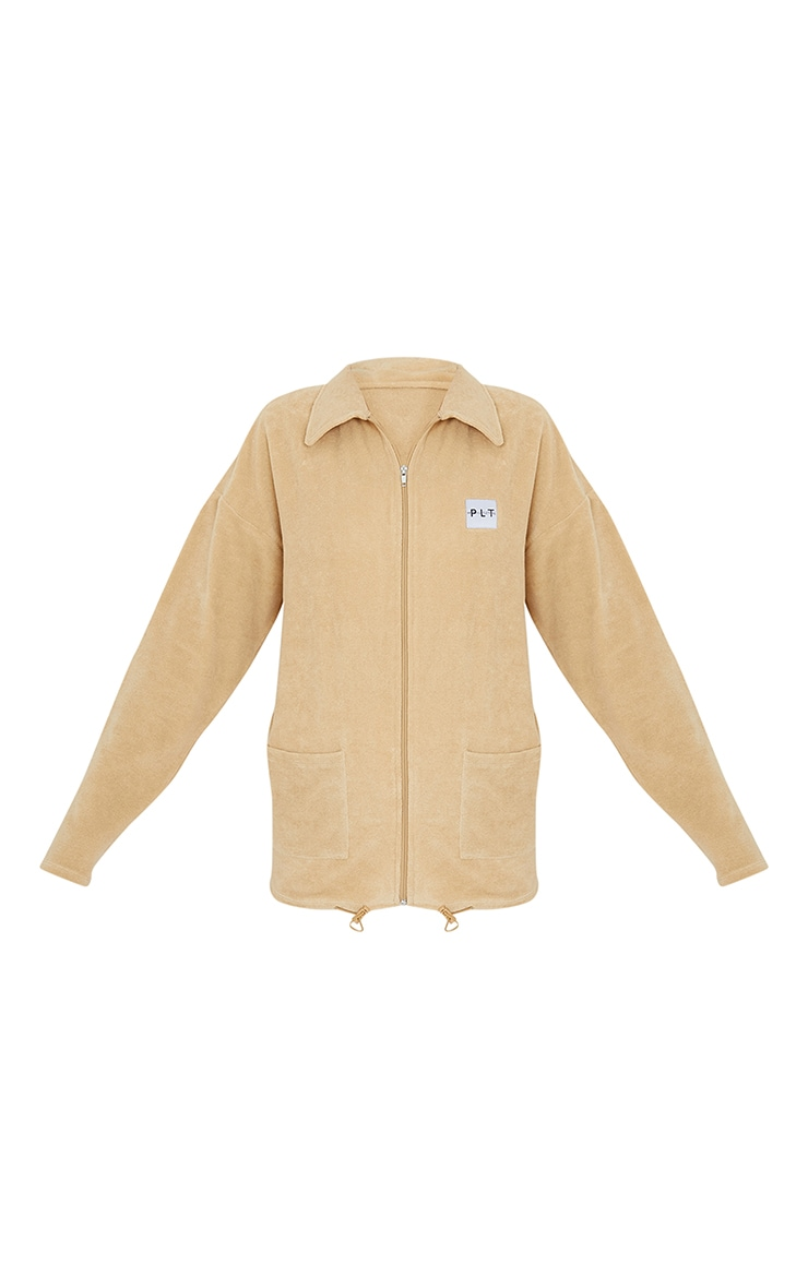 PRETTYLITTLETHING Sand Towelling Zip Up Tracksuit Jacket 5
