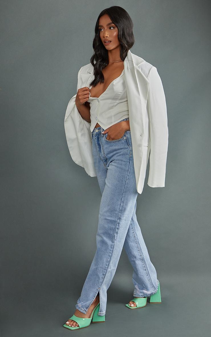 Petite Mid Blue Wash Ripped Split Hem Straight Leg Jeans 1