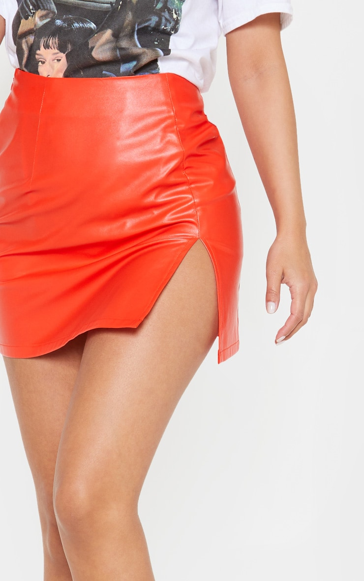 Petite Orange PU Side Split Mini Skirt 6