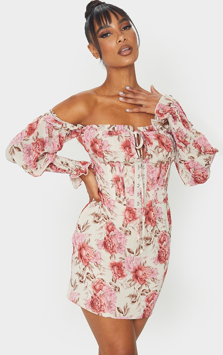 Pink Floral Print Chiffon Hook & Eye Tie Front Bodycon Dress 1