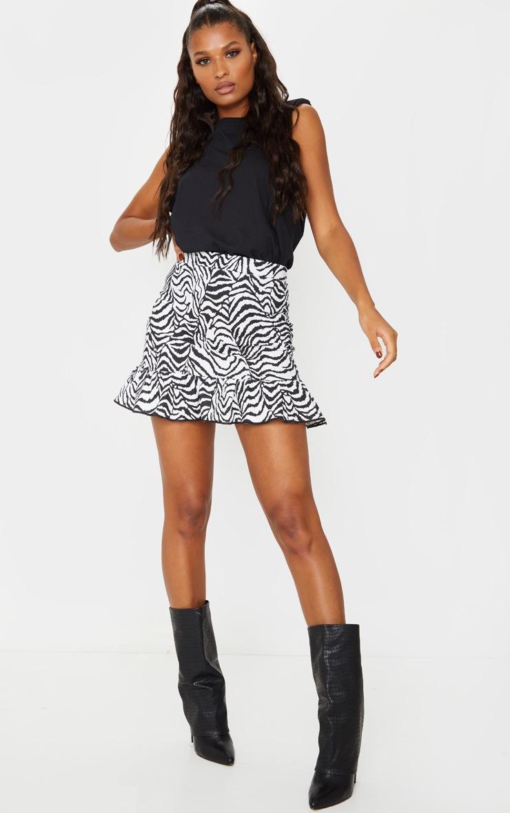Zebra Print Frill Hem Mini Skirt 4
