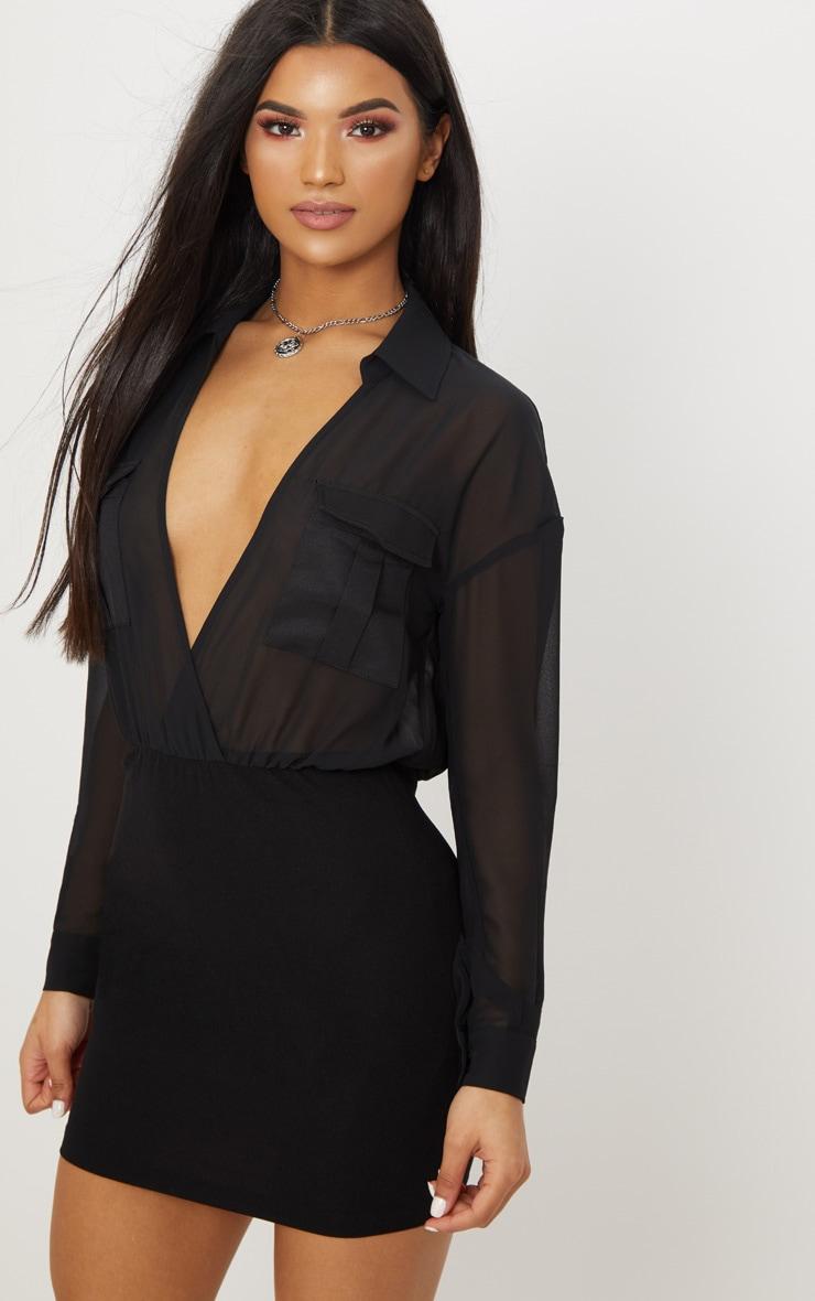 black sheer top utility bodycon dress