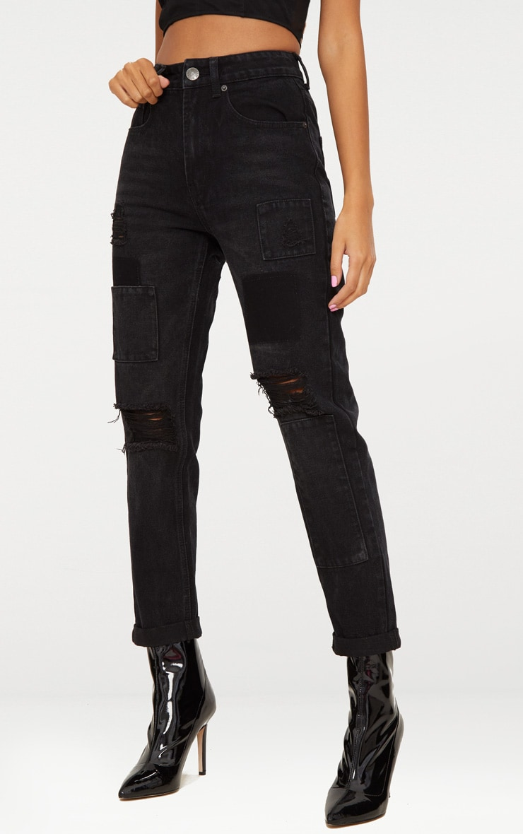 Washed Black Patch Detail Mom Jean 2