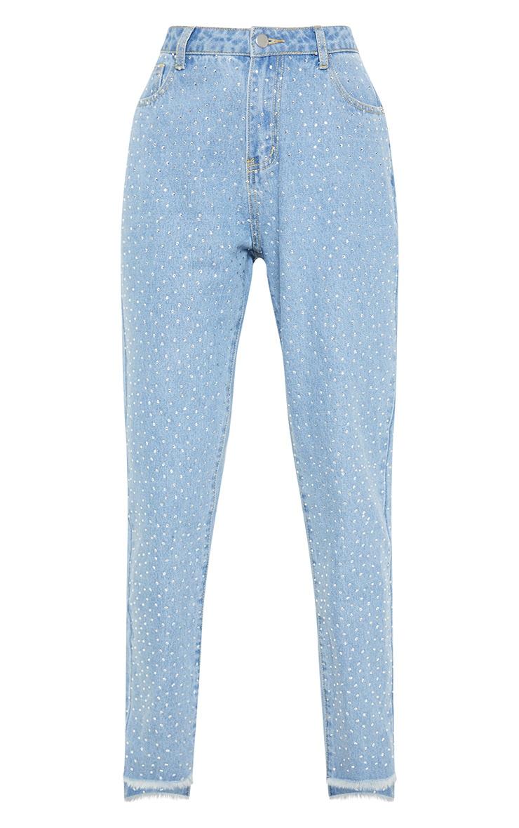 Light Wash Diamante Mom Jeans 3