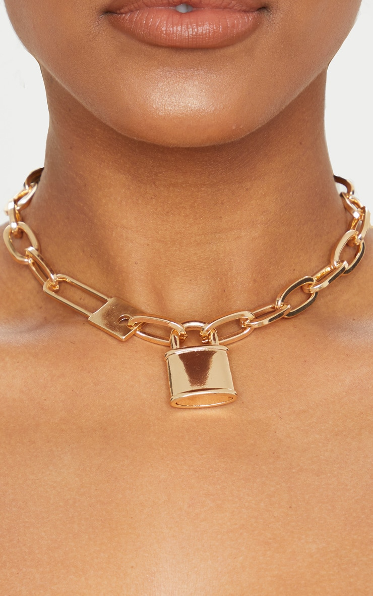 Gold Chunky Short Chain Padlock Necklace 2
