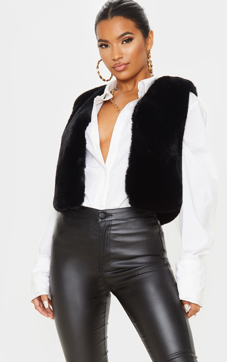 BLACK FAUX FUR CROP GILET