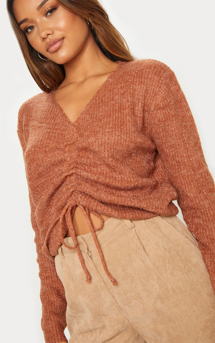 Rust Ruched Front Sweater 5