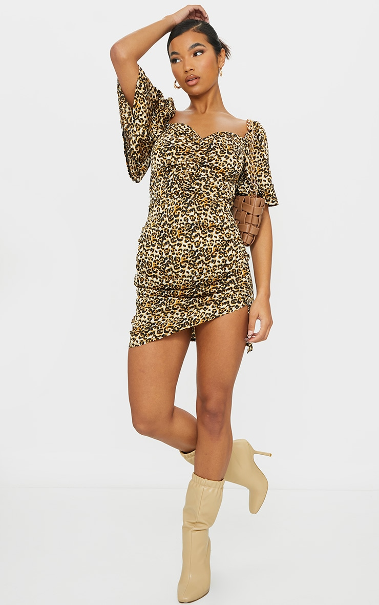 Tan Leopard Print Ruched Bust Bodycon Dress 3