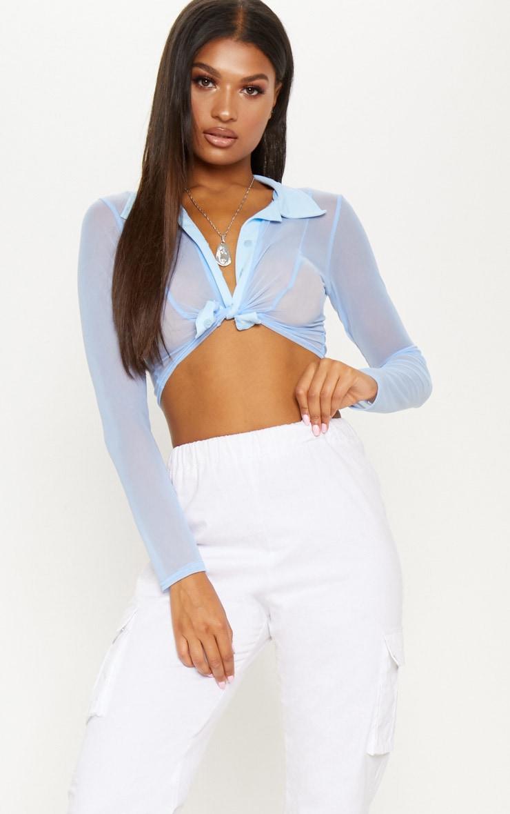 Pale Blue Sheer Mesh Long Sleeve Crop Shirt 1