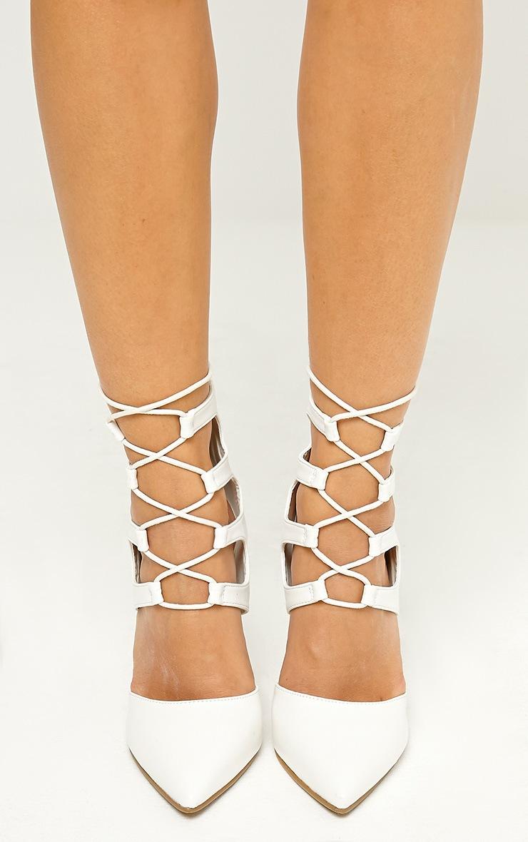 Lydia White PU Lace Up Heeled Sandals 3