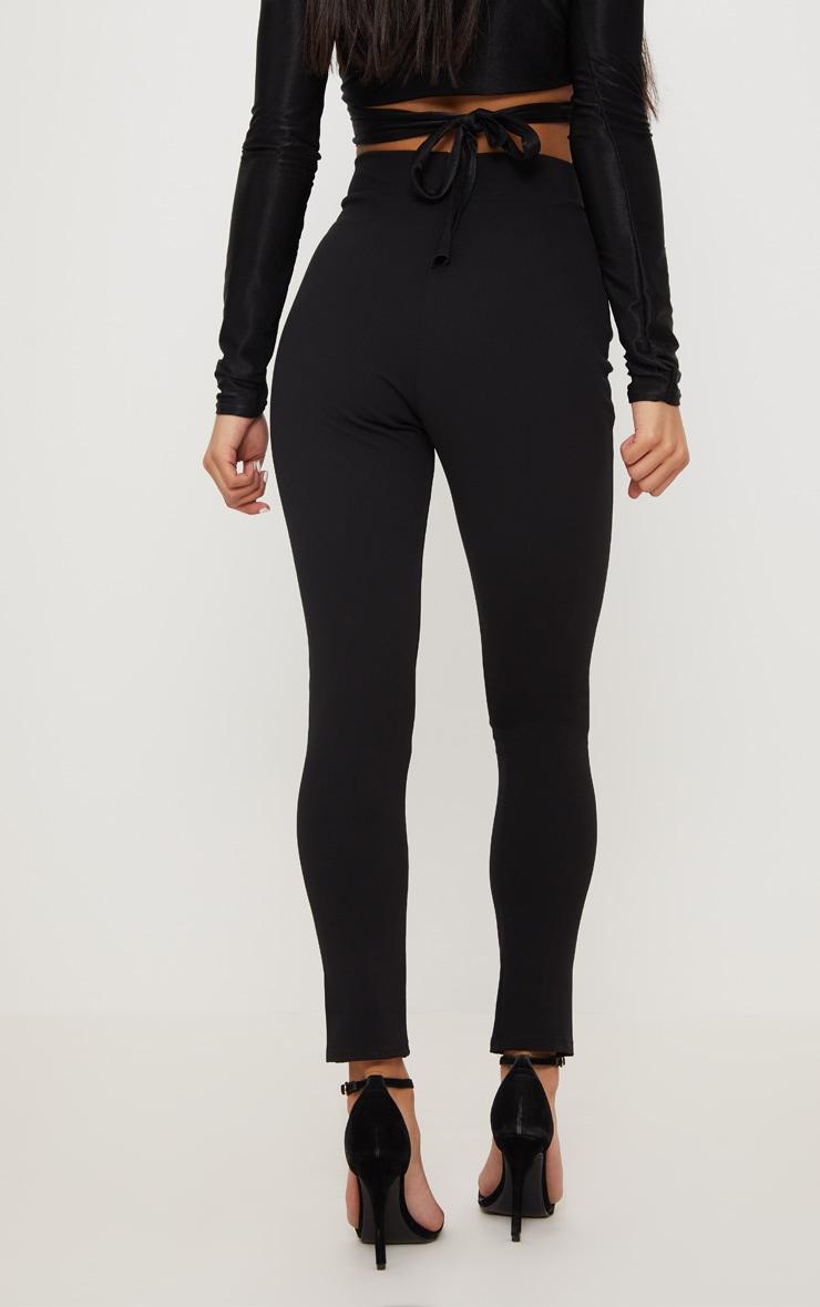 Black Open Front Tie Waist Trouser  4