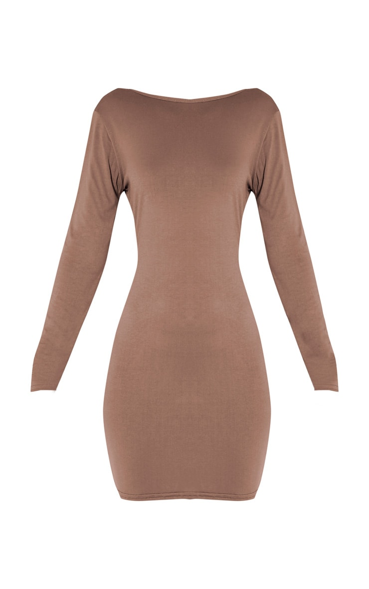 Basic Taupe Scoop Back Bodycon Dress 3