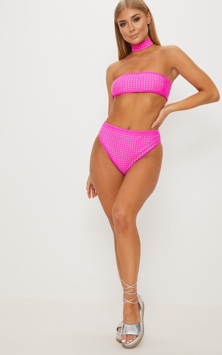 Premium Hot Pink Diamante High Waisted Pool Party Bottom 6