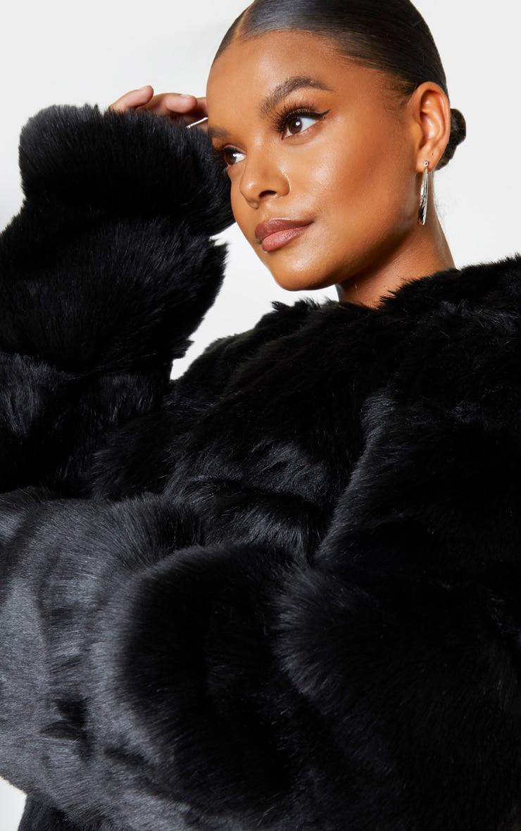 Plus Black Faux Fur Bubble Coat 4