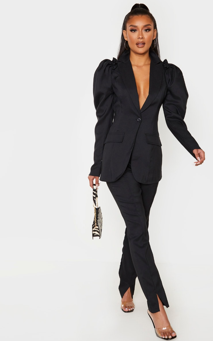 Black Woven Puff Sleeve Fitted Blazer 4