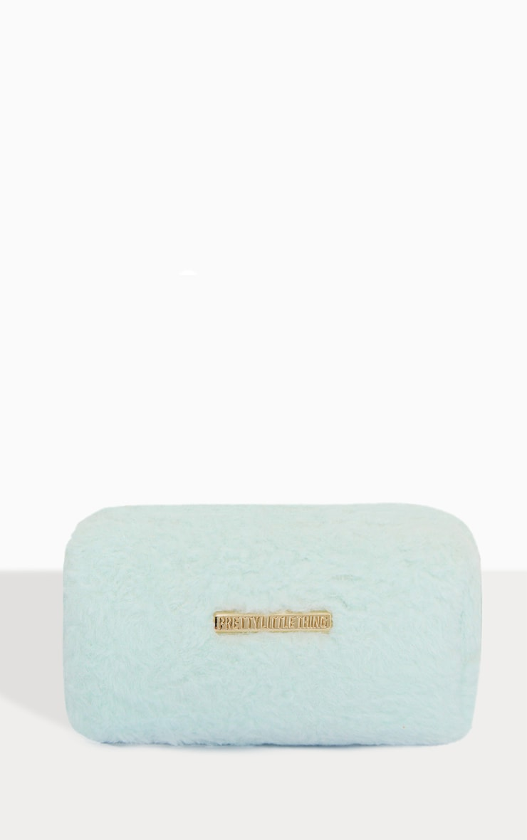 PRETTYLITTLETHING Mint Faux Fur Make Up Bag 1