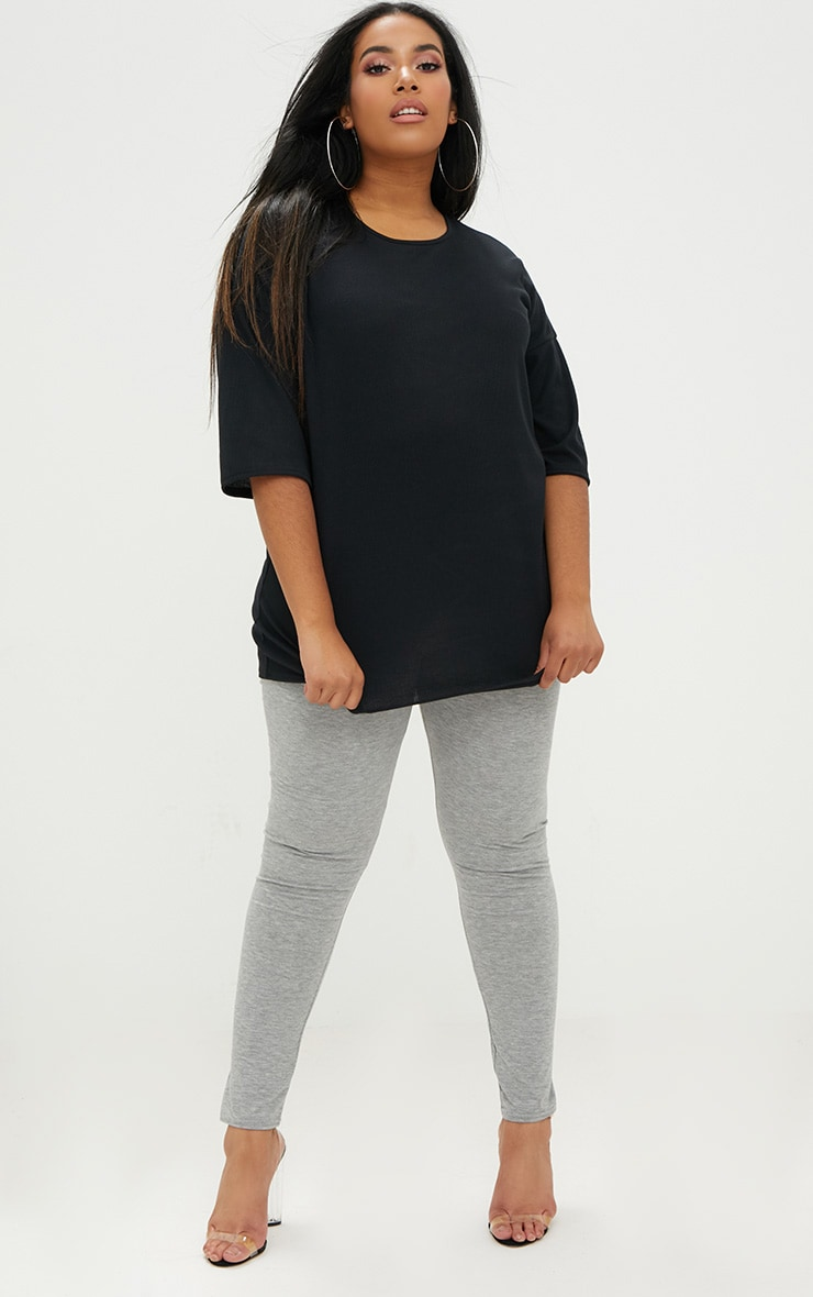 Plus Black Ribbed Oversized Tee 4