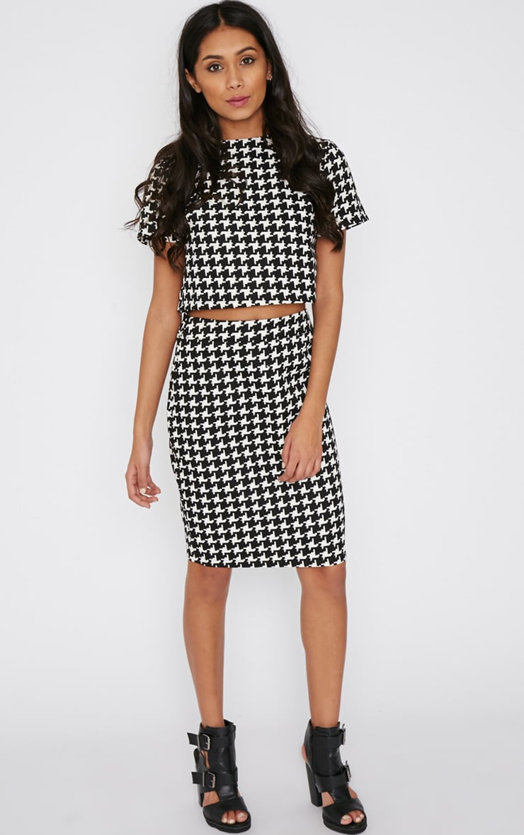 Loreto Monochrome Dogtooth Skirt 1