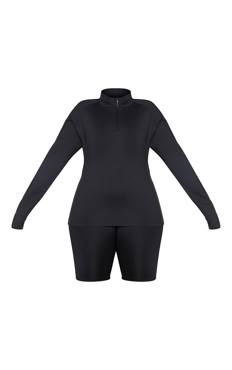 Plus Black Long Sleeve Zip Up Sports Top 5