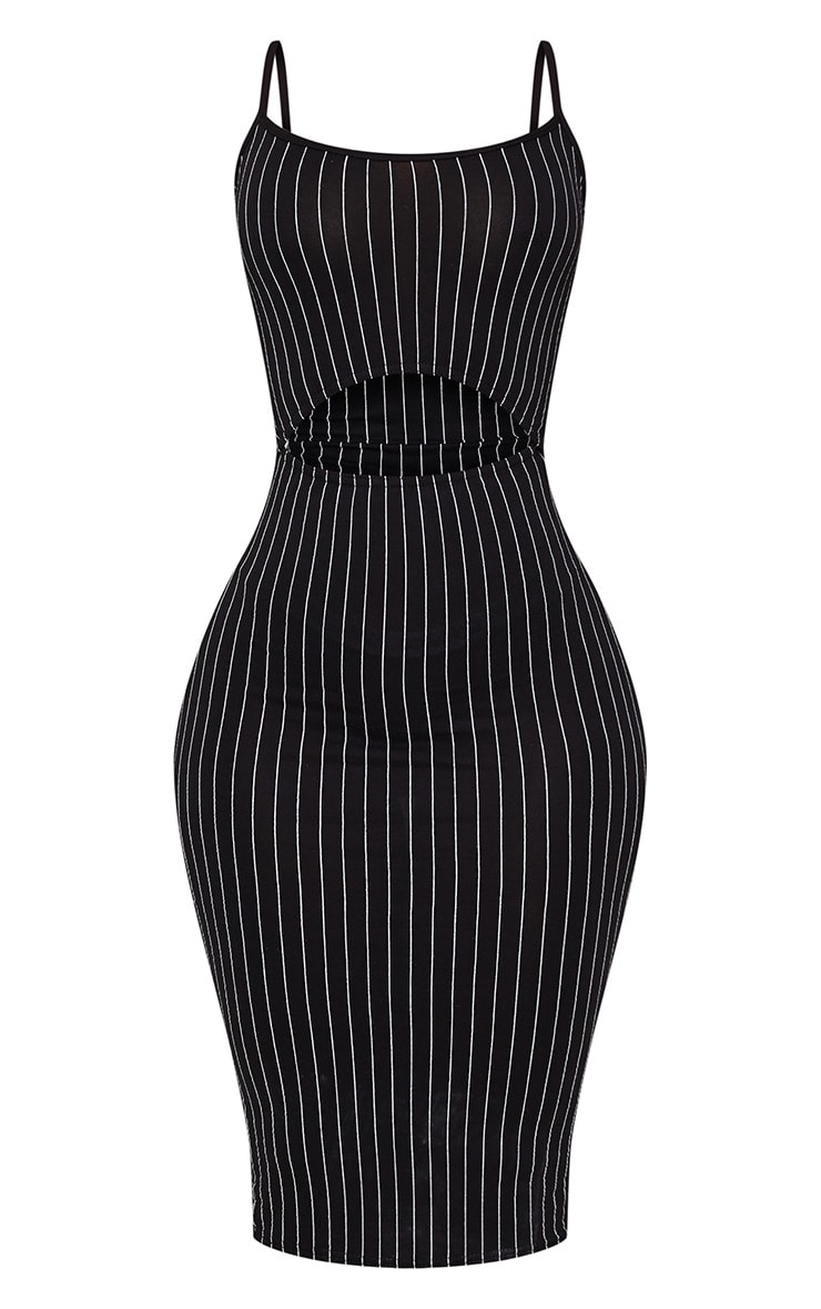 Shape Black Pinstripe Cut Out Midi Dress 3