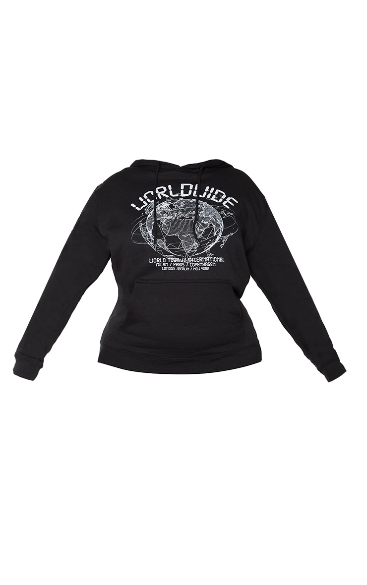 Plus Black Worldwide Slogan Oversized Hoodie 5