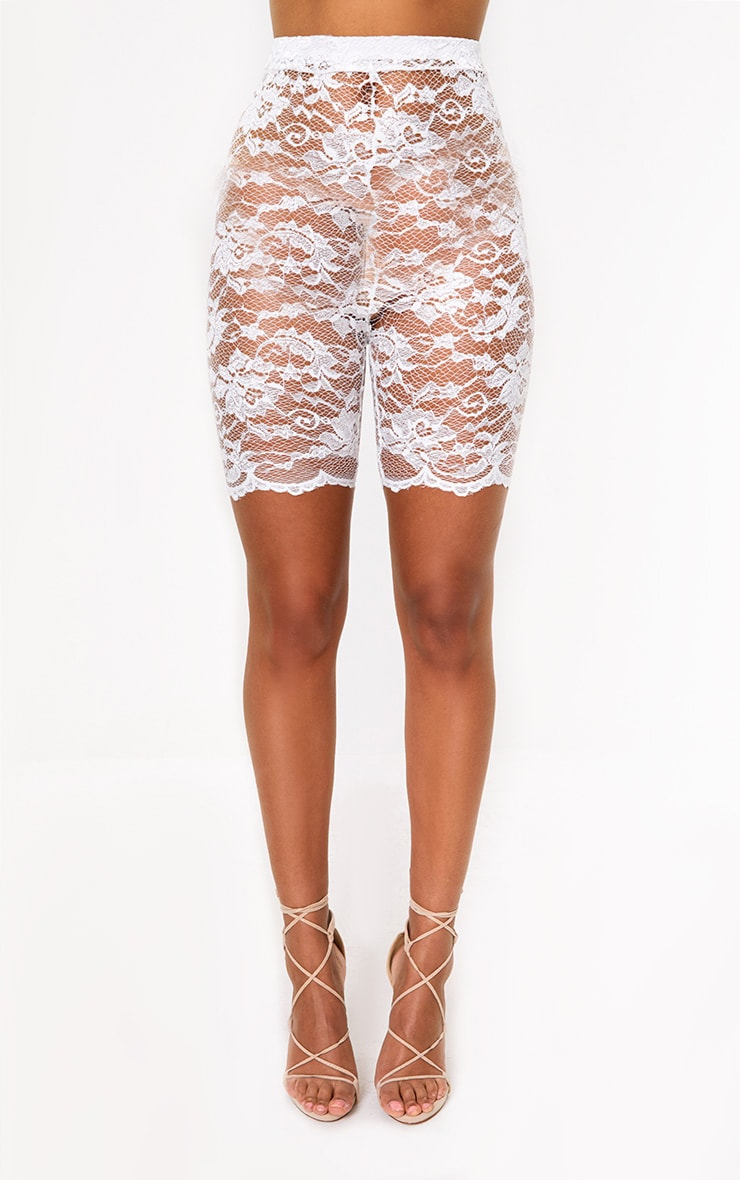 Cream Scallop Lace Cycle Shorts 2