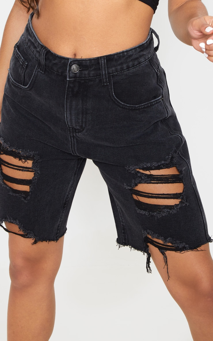 Washed Black Heavy Distressed Mom Shorts  6