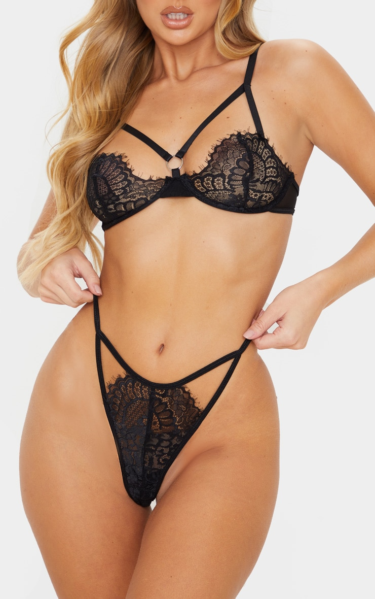 Black Cut Out Lace Thong 5