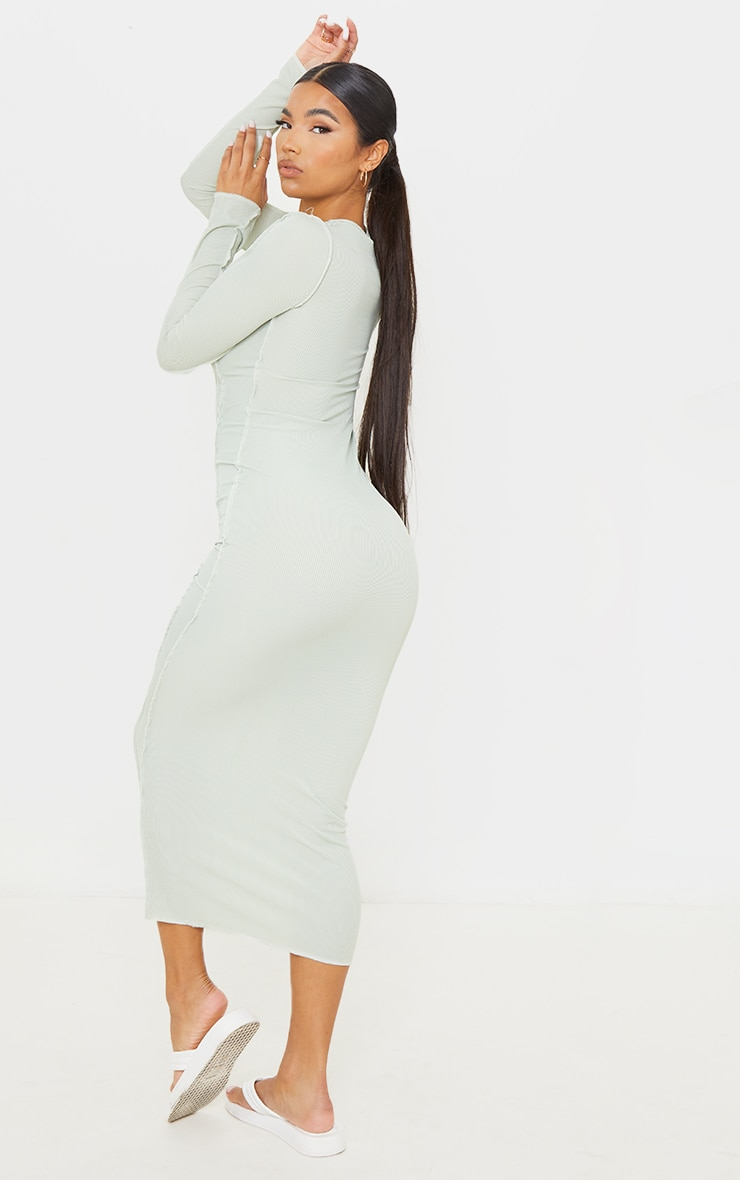 Sage Green Rib Asymmetric Seam Detail Long Sleeve Midi Dress 2